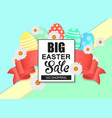 easter sale colorful banner with eggs and ribbon vector image