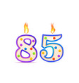 eighty five years anniversary 85 number shaped vector image vector image