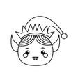 elf helper santa christmas celebration outline vector image vector image