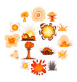 explosion effect icons set cartoon style vector image vector image