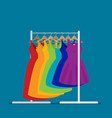 flat racks with clothes on hangers vector image