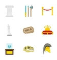 Gallery in museum icons set flat style vector image vector image