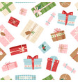 gift box seamless pattern present packs vector image vector image