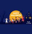 happy halloween kids kid in costume at night vector image