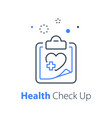 health check up heart system exam vector image