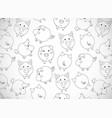 horizontal greeting card with cute cartoon vector image vector image