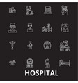 hospital editable line icons set on black vector image