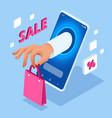 isometric online shopping with smartphone e vector image