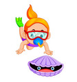 little girl diving the sea for a shells vector image
