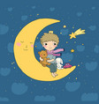 little prince is sitting on moon cute vector image