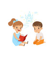 lovely girl reading fairy tail fantasy book to vector image