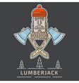 Lumberjack Logo Thin Lines vector image