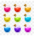 magic flasks color set on a transparent vector image vector image