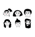 people faces isolated on white men and women vector image