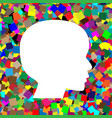 People head sign white icon on colorful