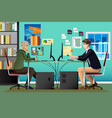 programmer and designer working in an office vector image