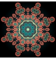 Red coloured ornamental mandala on black vector image vector image