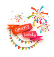 red ribbon with title for wueen birthday party vector image vector image