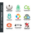 set fitness and sport logo vector image vector image