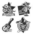 set mexican emblems vector image vector image