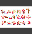 set with funny santa claus in different poses vector image vector image