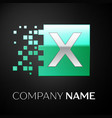 silver letter x logo symbol in the green square vector image vector image