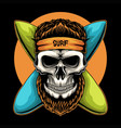 skull surfing board vector image vector image