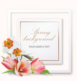 spring background with tulips and narcissus vector image vector image