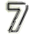 technological font Number 7 vector image vector image