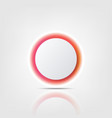 white circle with colorful glow and reflection vector image vector image