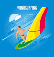wind surfing isometric background vector image vector image