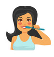woman brushing teeth with toothbrush daily hygiene vector image