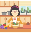 Woman cooking vegetable salad vector image vector image