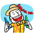 young man cartoon very happy with party vector image vector image