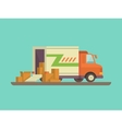 Unloading or loading delivery truck vector image