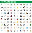 100 frame icons set cartoon style vector image