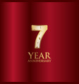 7 year anniversary gold with red background vector image vector image