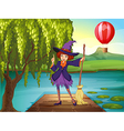 A witch holding a broom standing at the port vector image vector image