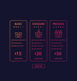 banner for tariffs set of pricing table and plans vector image