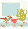 bird and tea in the kitchen vector image