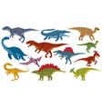 cartoon dinosaurs jurassic extinct dino raptors vector image vector image