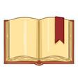 cartoon - open book with bookmark vector image vector image