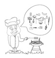 Cartoon pig having a BBQ vector image vector image