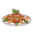 chicken masala with lemon slices and oregano vector image vector image
