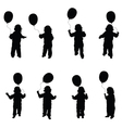 child play with balloon set in black vector image vector image
