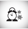 christmas clock on white background vector image vector image