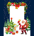 christmas holiday santa deer snowman and gifts vector image