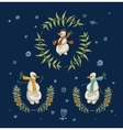Christmas wreaths set with snowman and New Year vector image vector image