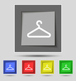 clothes hanger icon sign on original five colored vector image