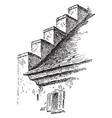 corbel steps building method vintage engraving vector image vector image